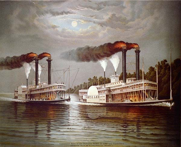 This Is A Painting Of The 1870 Steamboat Race Between The Natchez