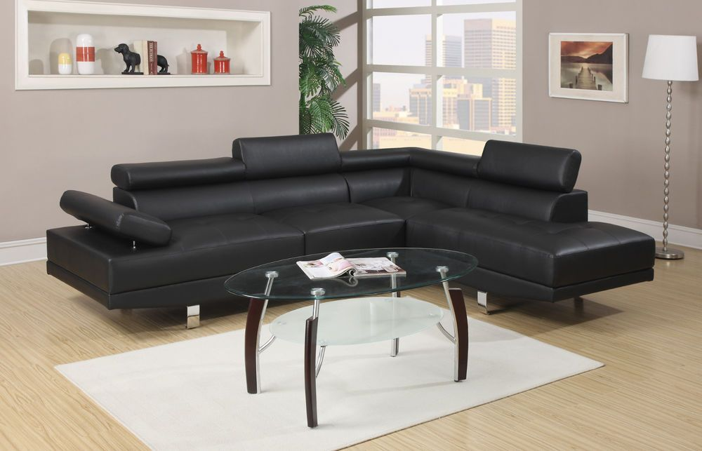 Marvelous Poundex F7310 2 Pcs Sectional Sofa In Black Faux Leather W Inzonedesignstudio Interior Chair Design Inzonedesignstudiocom