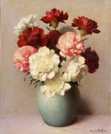 Robert Louis Raymond Duflos Green Vase With White And Red Carnations Green Vase Red Carnation Carnations