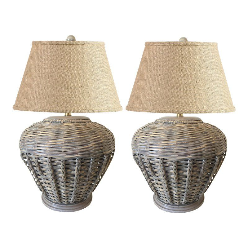 1970s Vintage Malibu Style Wicker Table Lamps A Pair In 2018