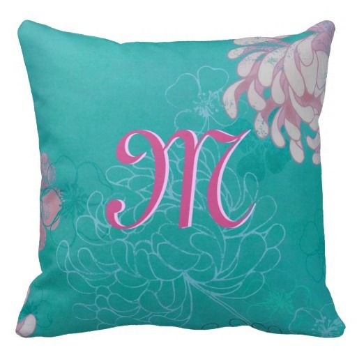 Abstract Teal and Pink Floral Throw Pillow