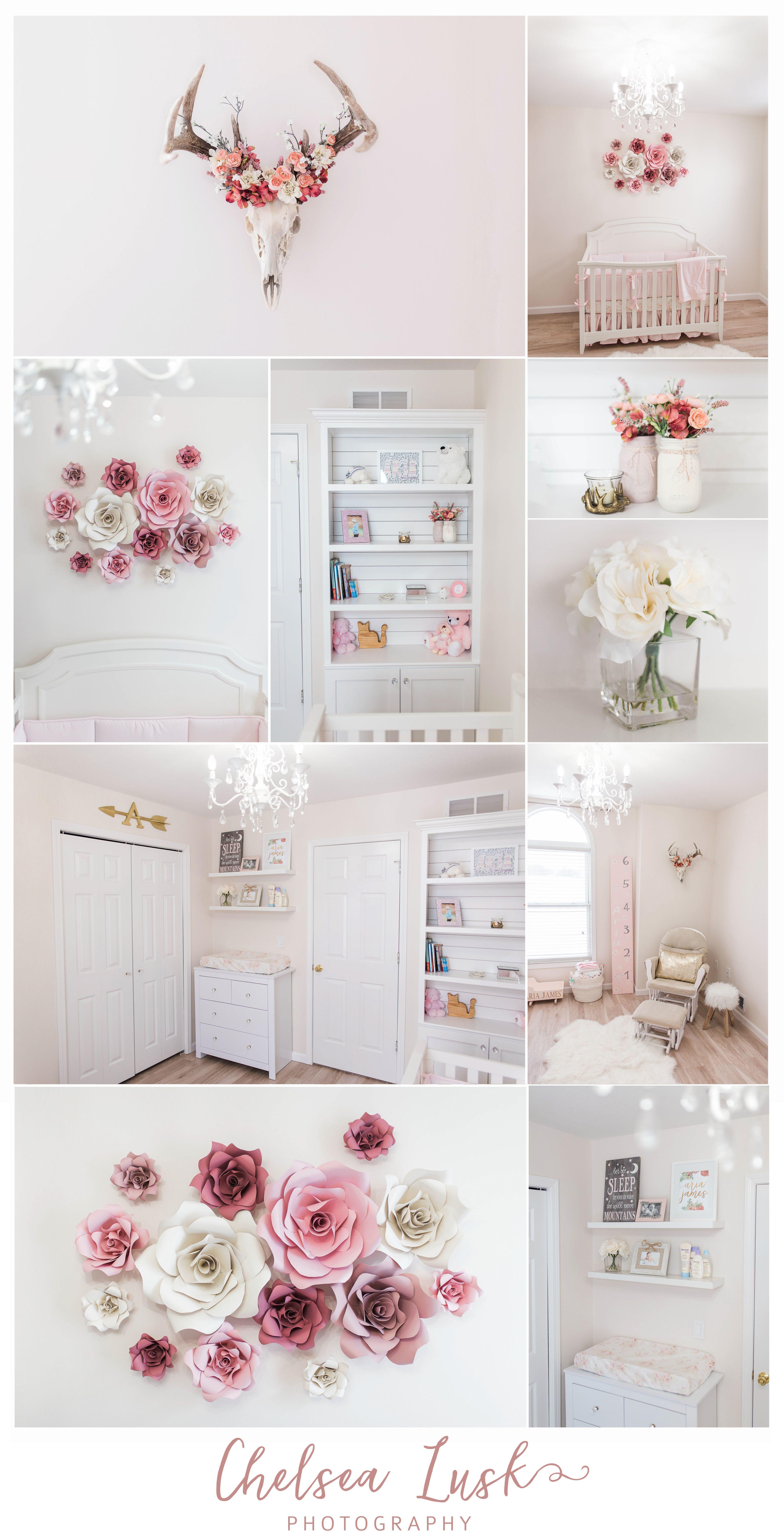 Floral Baby Girl Nursery Shiplap Bookshelf Paper Flowers