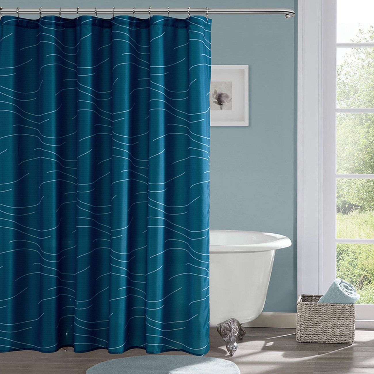 Amazon.com: KINDOBEST Light Blue Shower Curtains for Bathroom ...