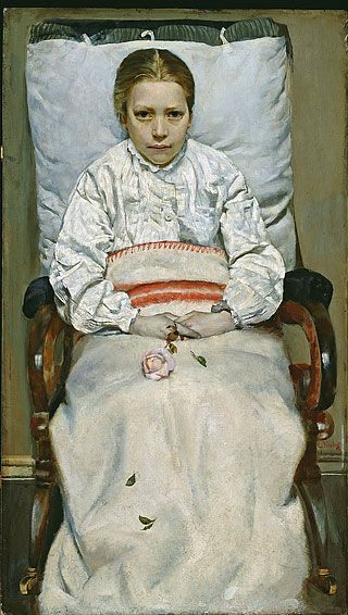 """Christian Krohg, 1880/81.  """"Afflictions do and will work very much for good: many have found it good to bear this yoke in their youth; it has made many humble and serious, and has weaned them from the world, who otherwise would have been proud and unruly."""" - Matthew Henry"""