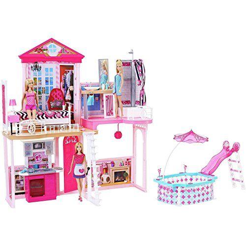Barbie Haus 71 Cm Hoch 61 Cm Breit Mit Möbel Bestehend Aus Schlafzimmer    Badezimmer