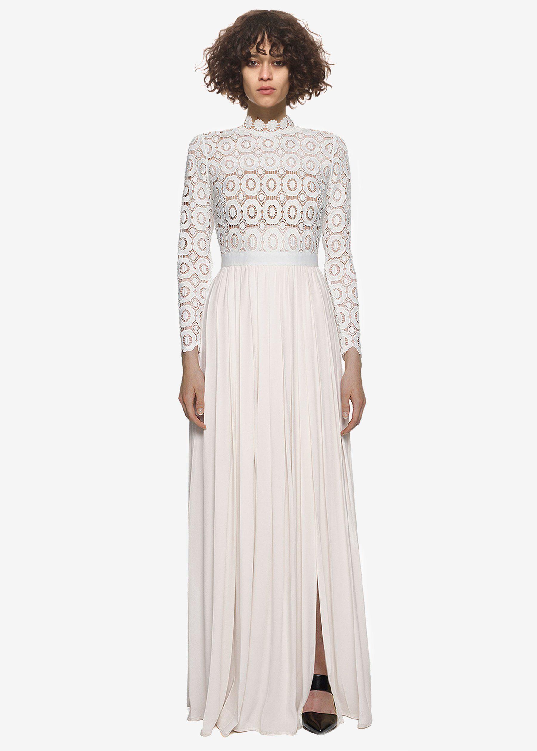 688f75fa8c Pleated Crochet Floral Maxi Dress