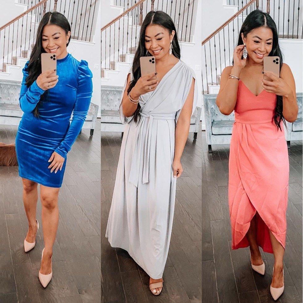 Wedding Guest Dress Wedding Guest Dress Sheer Sleeve Dress Long Sleeve Velvet Dress [ 980 x 980 Pixel ]
