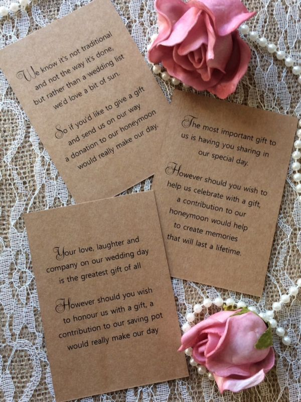 25 Wedding Gift Money Poem Small Cards Asking For Cash Invitations