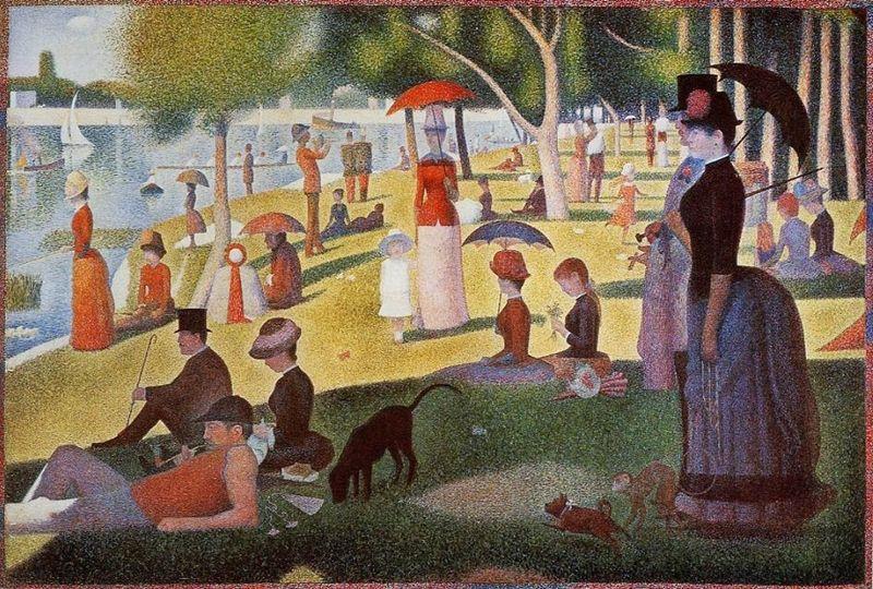 """L'ideatore del Puntinismo/Divisionismo fu Georges Seurat 1859-1891 con il celebre dipinto """"Una domenica pomeriggio sull'isola della Grande Jatte"""", in cui esprime l'essenza pittorica della corrente."""