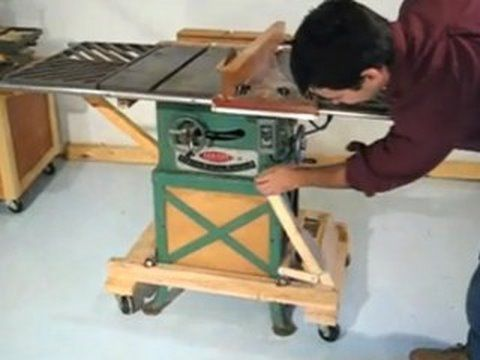 I Swear I Saw On Hear A Plan Or Picture Where Someone Had Rigged Casters To Move Workbench That Flipped Up Out Of The Table Saw Woodworking Retractable Casters