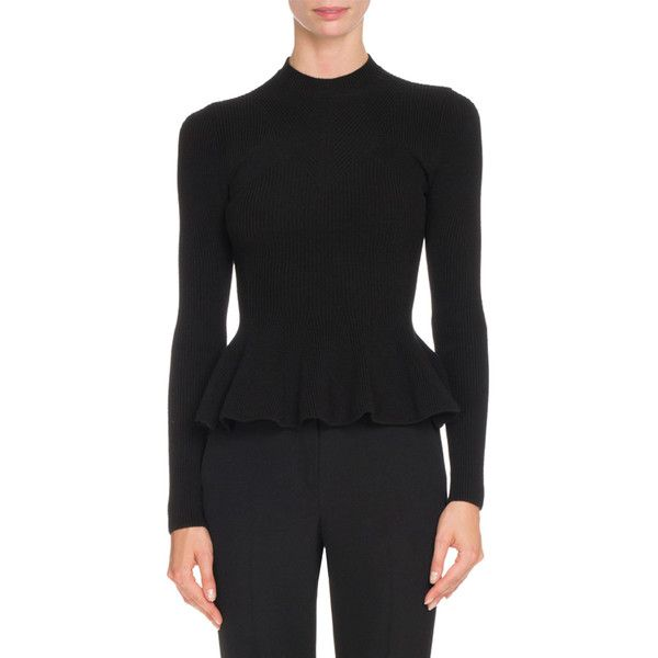 Givenchy Ribbed Knit Peplum Top ($1,395) ❤ liked on Polyvore featuring tops, sweaters, black, women's apparel tops, givenchy sweater, pullover sweater, crewneck sweaters, peplum tops and ribbed knit sweater