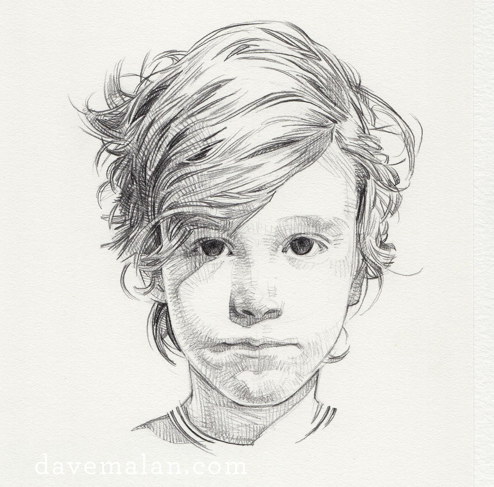 """Drawing of a boy Pencil on paper 9""""x12"""" 