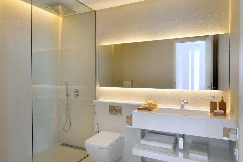 Barrier Free Showers Bathroom Contemporary With Backlit Mirror Cove Lighting