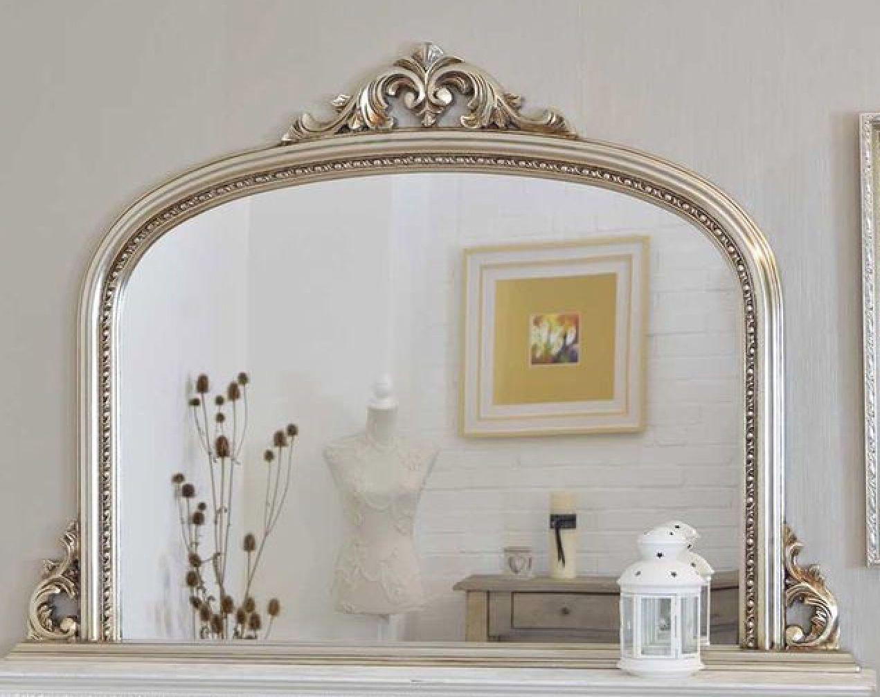 Silver overmantle mirror mooie zilveren schouwspiegel http for Overmantle mirror