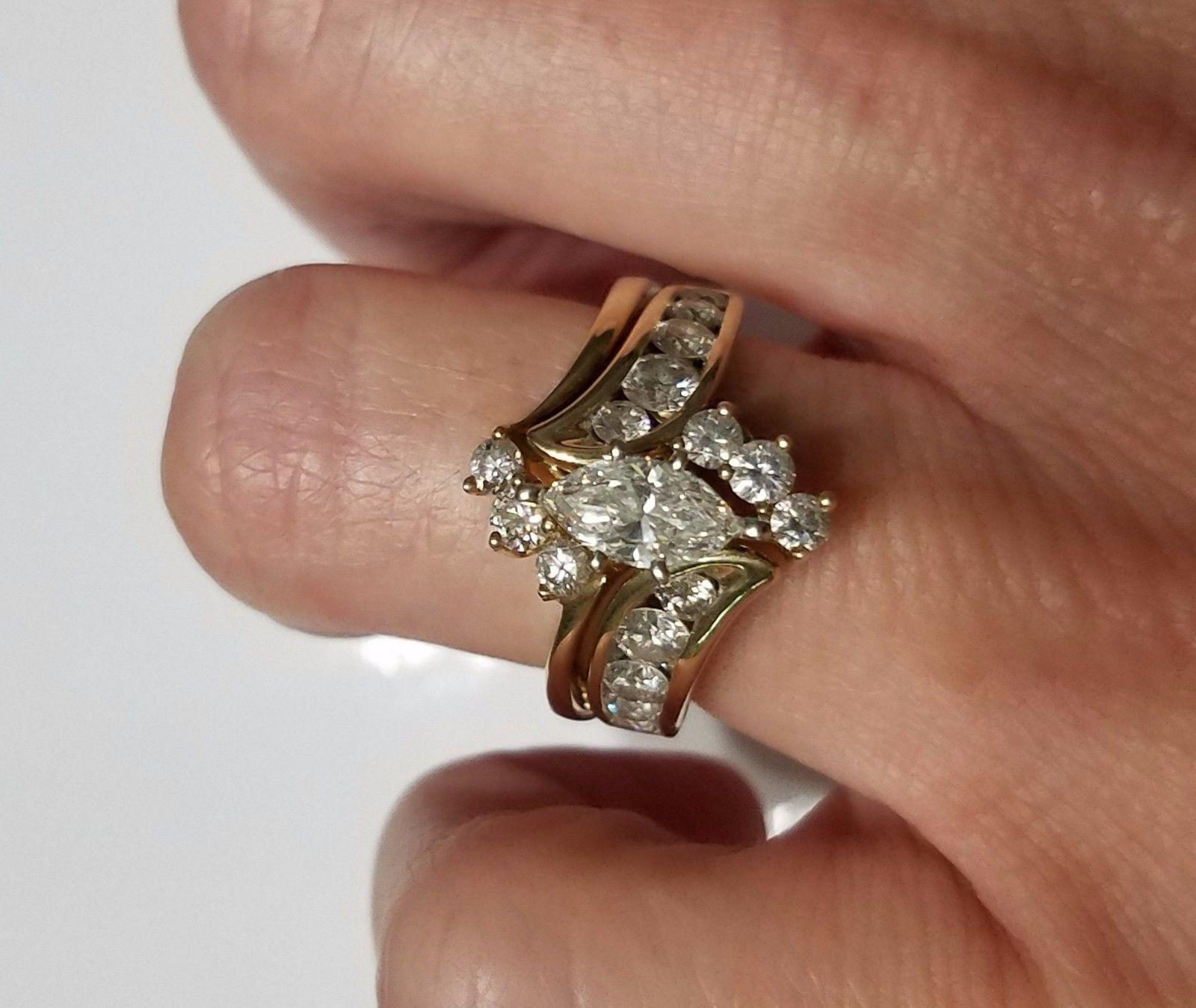 Marquise Diamond Bridal Set 14K Yellow Gold Engagement Ring