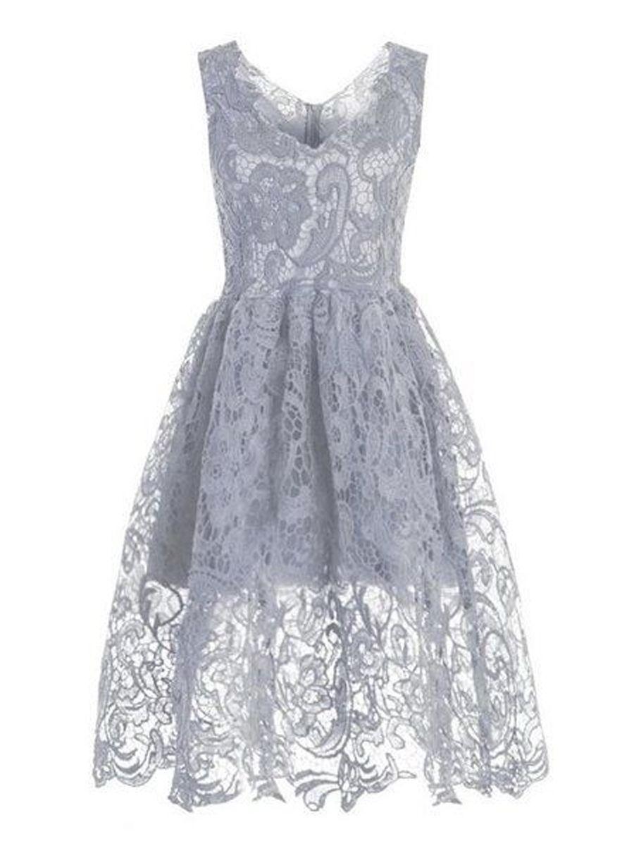 V Neck Lace Hollow Out Plain Skater Dress - fashionmeshop.com