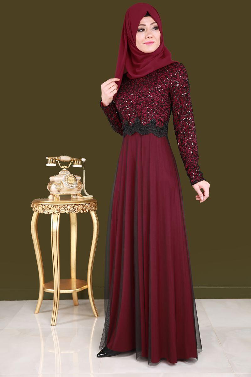 En Yeniler Tul Etekli Tesettur Abiye Bordo Urun Kodu Fnd3829 109 90 Tl Elbiseler The Dress Musluman Elbisesi