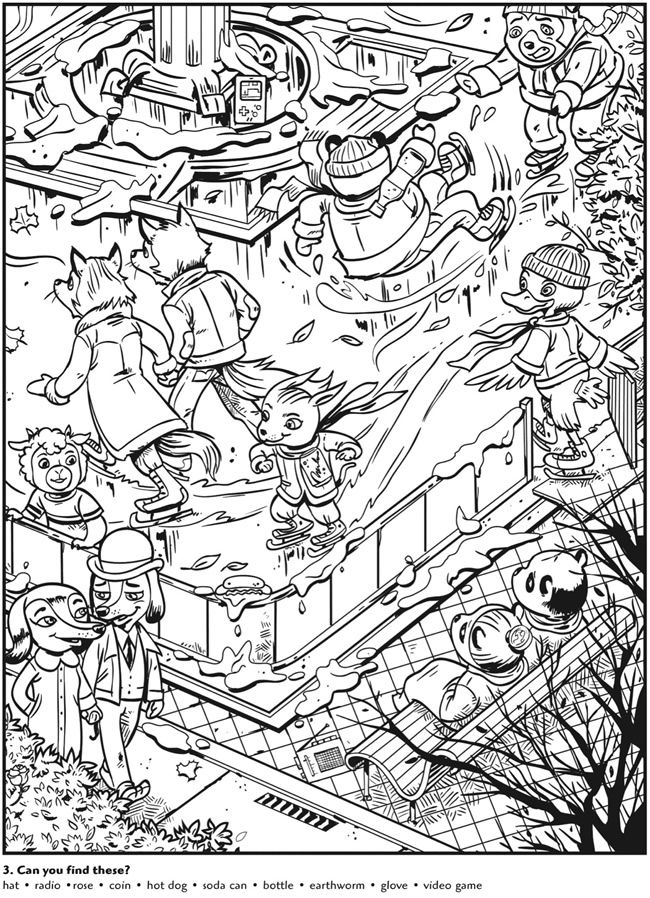 Colouring-in page - sample from 'Animal Antics Hidden Pictures' via Dover Publications ~s~