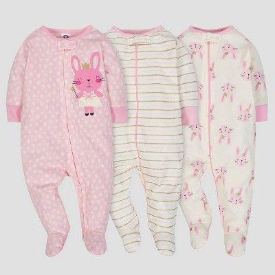 da4b7bef1954 Gerber Baby Girls  3pk Sleep  N Play Princess - Pink Cream Newborn ...
