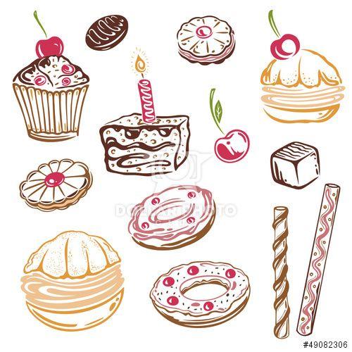 Geburtstag, Kaffee, Kuchen, Süßigkeiten, vector set basteln - next line küchen