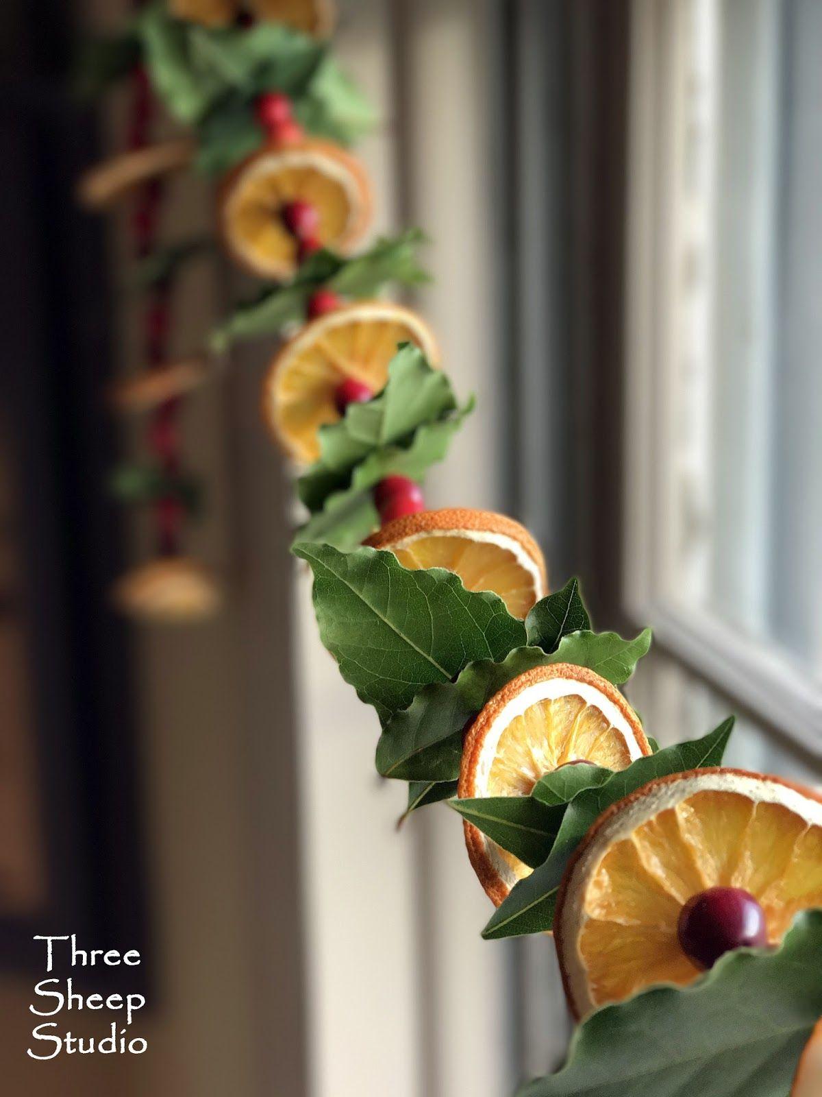 Orange Cranberry And Bay Leaf Garland Threesheepstudio Com Christmas Decorations Christmas Diy Christmas Cheer