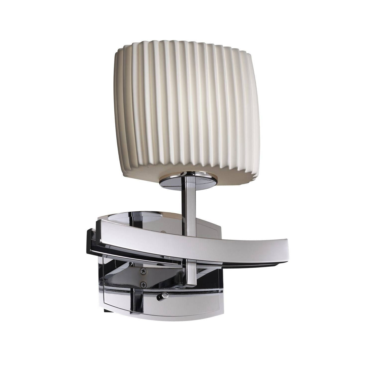Justice Design Limoges Archway Polished Chrome Wall Sconce, Oval Shade With  Pleats Impressions, Silver (Metal)