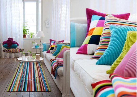 rayas + almohadones + alfombra