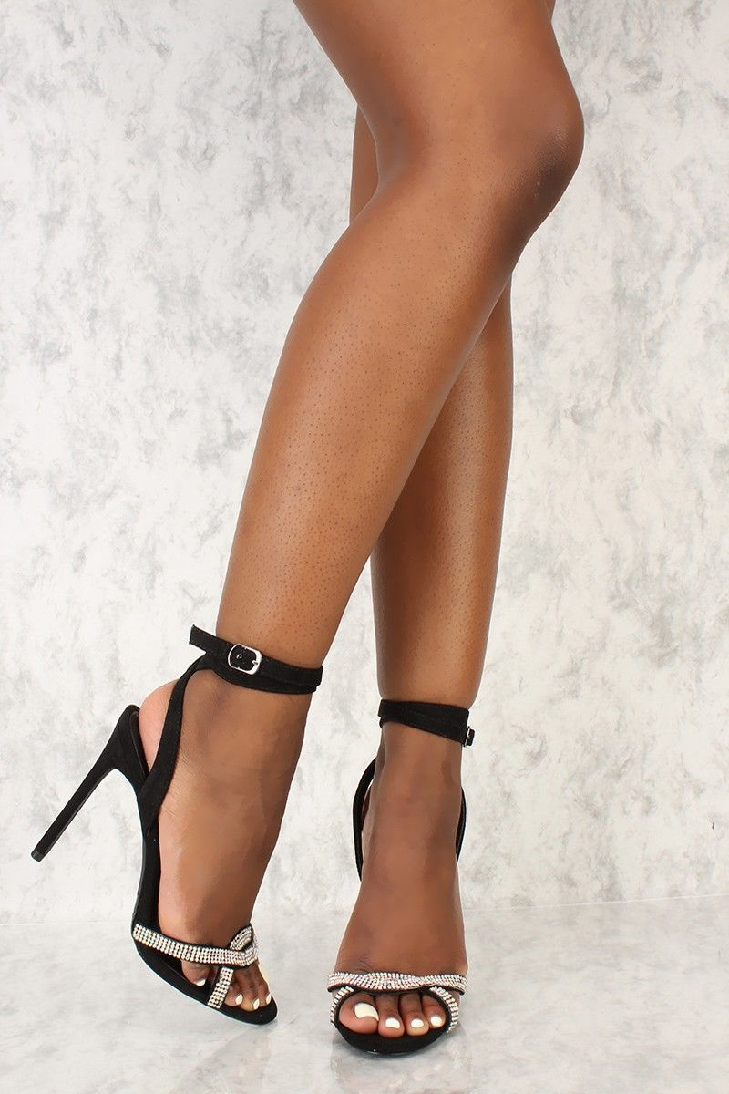 1fd5983bfb Black Rhinestone Strappy Detail Open Toe High Heels Faux Suede ...
