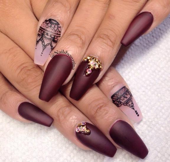 Maroon With Black Hand Drawn Lace Maroon Nails Nail Designs Burgundy Nails