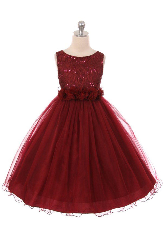 ebae4073a6 Burgundy Sleeveless Shiny Tulle Flower Girls Dress with Floral Waist sash