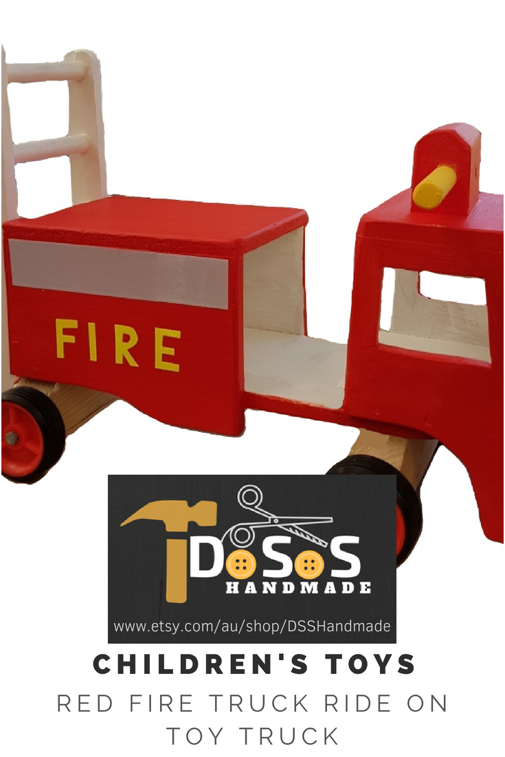Toys car kids  Wooden Toy Fire Trucks Toy Trucks Wooden Trucks Red Ride On Toy Car