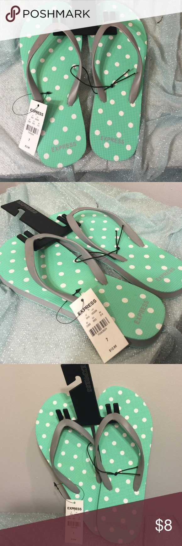 Polka Dot Tiffany Blue Flip Flops Brand new, ADORABLE polka dot flip-flops! Express Shoes Sandals