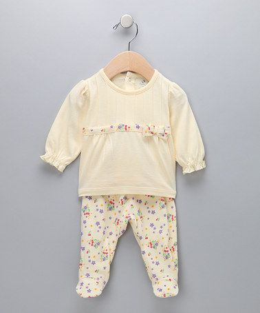 Take a look at this Yellow Floral Top & Footie Pants - Infant by Absorba on #zulily today!