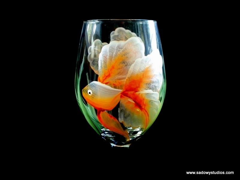 Glass  Goldfish Wine Glass, Hand Painted, Dishwasher Safe