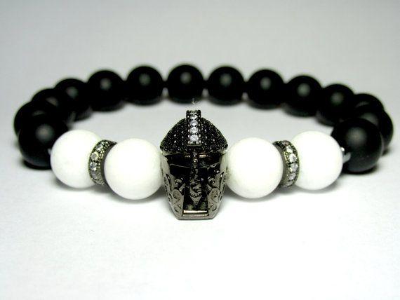 6e2b6166ef19 Mens Helmet Bracelet, Mens Beaded Bracelet, Birthday Gift for Men ...