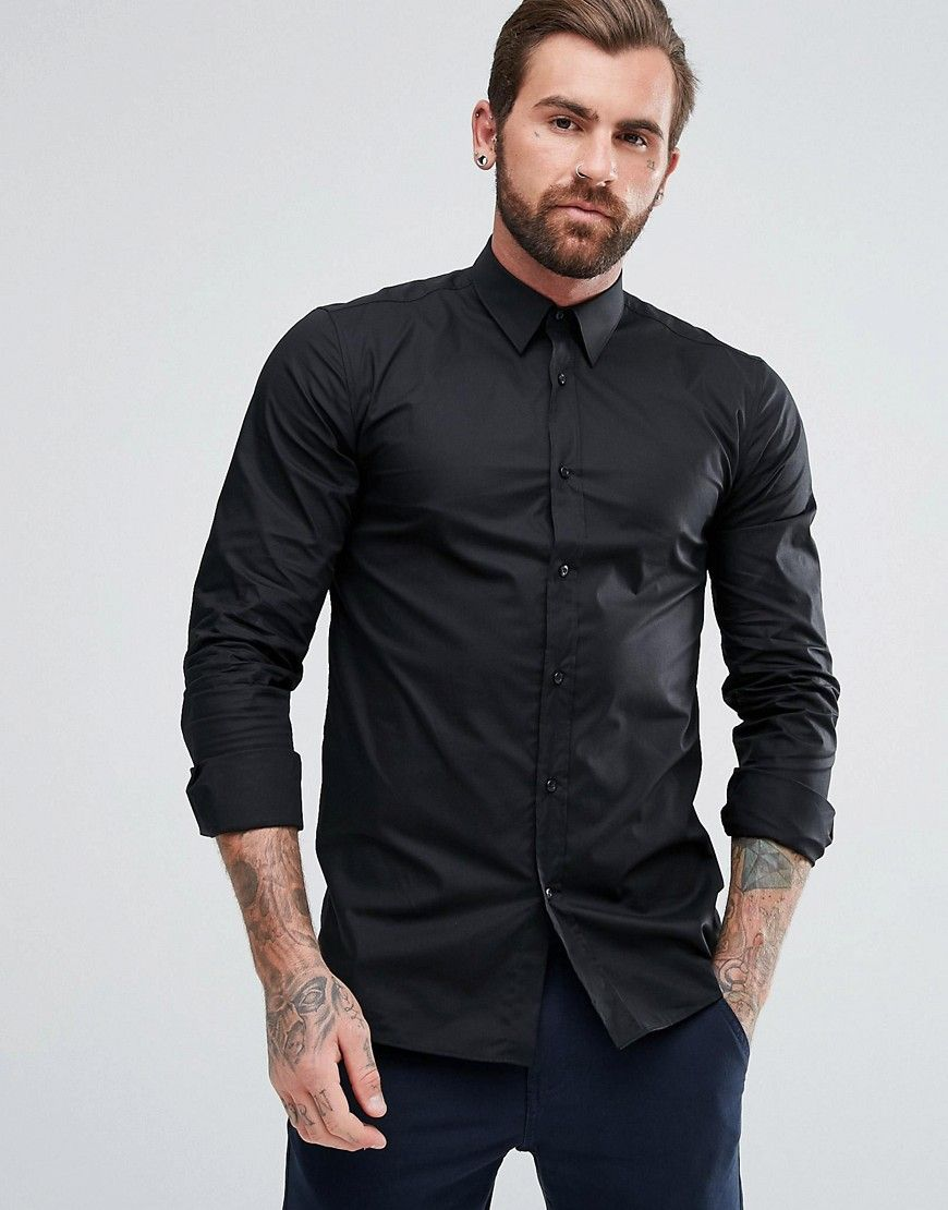 1a8dc320f HUGO BY HUGO BOSS ELISHA EXTRA SLIM FIT STRETCH POPLIN SHIRT IN BLACK -  BLACK. #hugo #cloth #