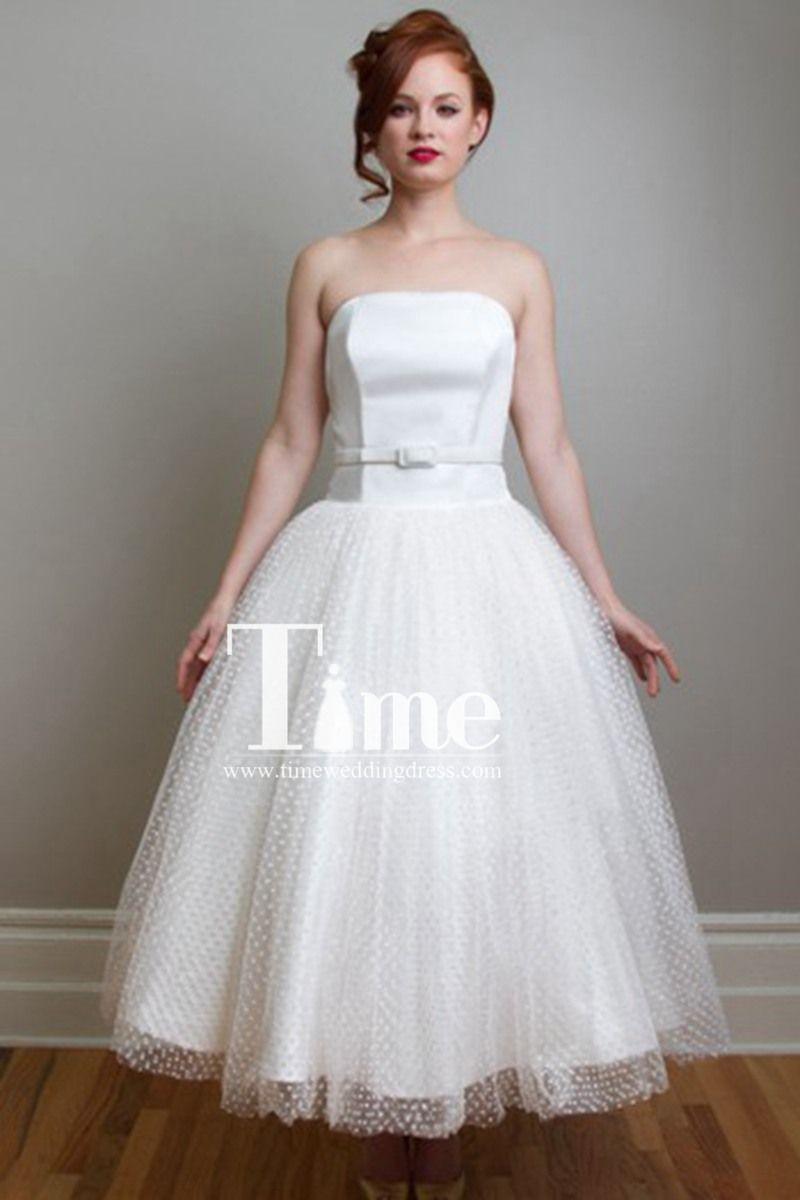 Vintage Satin&Tulle Tea Length/Short Wedding Dresses WD19