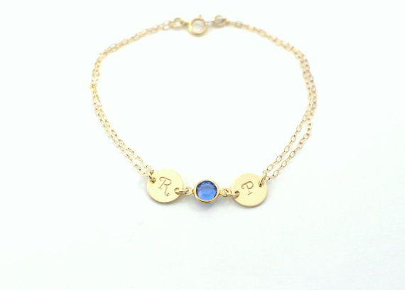 Birthstone bracelet Personalized bracelet Two by AngelicSpark