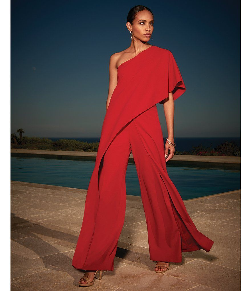 3baa79e8cf8e Red Adrianna Papell Crepe One Shoulder Jumpsuit