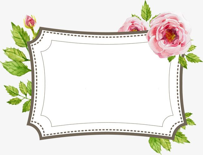Hand Painted Flower Text Border Label Hand Painted Flowers Marry