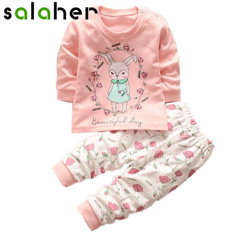 fe098e468 Little rabbit pink cartoon Children baby boys girls clothing sets tracksuit  sport suit t-shirt+pants kids clothes sets