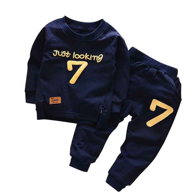 2pcs Toddler Boys Girl Sport Casual Set Long Sleeve T-shirt+Pants Cotton Clothes