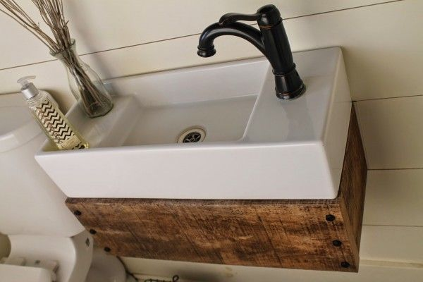 Gallery Website build a wood floating vanity to fit an IKEA sink Girl Meets Carpenter featured on