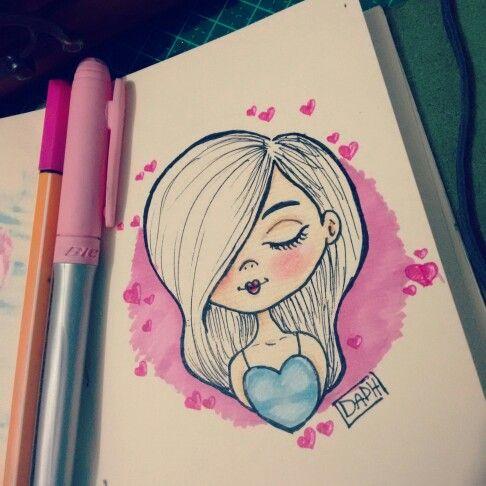 loving drawing girl cute love