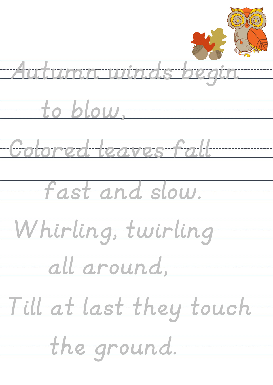 Halloween Poetry Tracing Page Fall Leaves Poem Fine Motor And Hand Writing Practice Writing Practice Poetry Reading Skills [ 1340 x 948 Pixel ]