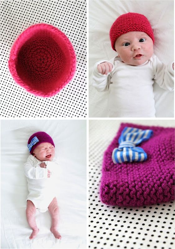 TUTORIAL/PATTERN: Knitted Newborn Hat with fabric bow | MADE | DIY ...