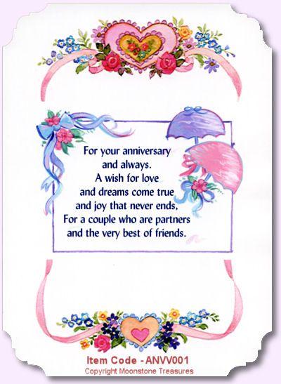 Card Sentiments Wedding Anniversary Verses By Moonstone Treasures