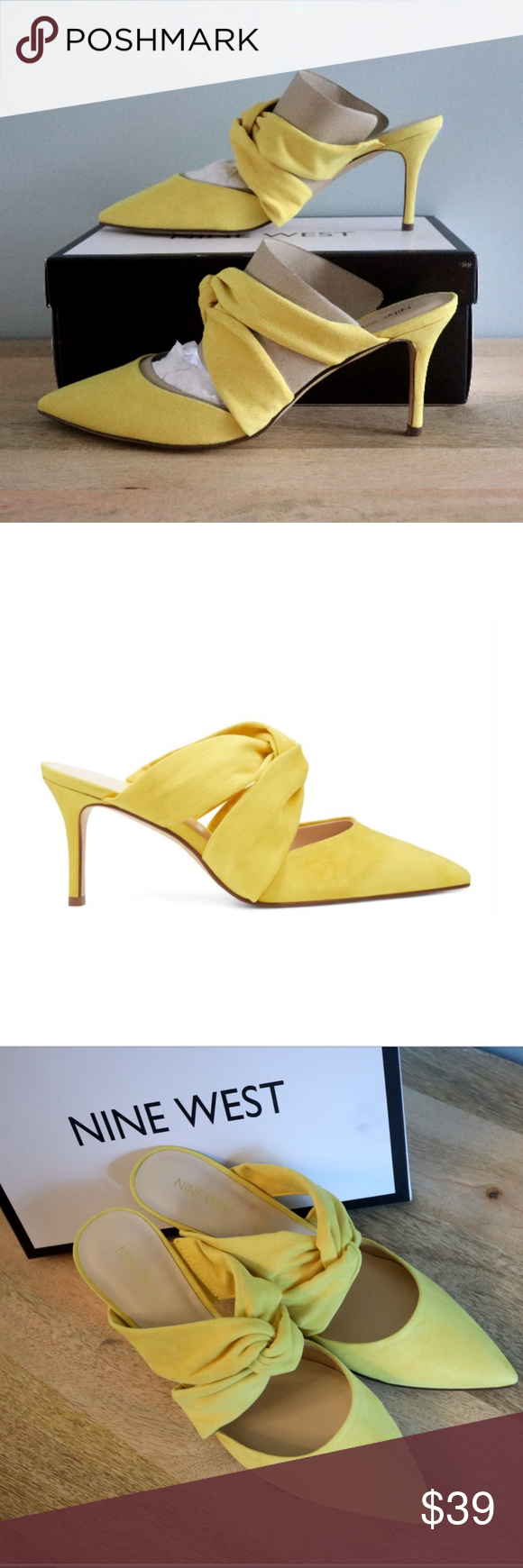 Nine West Yellow Knotted Mules Heels 9