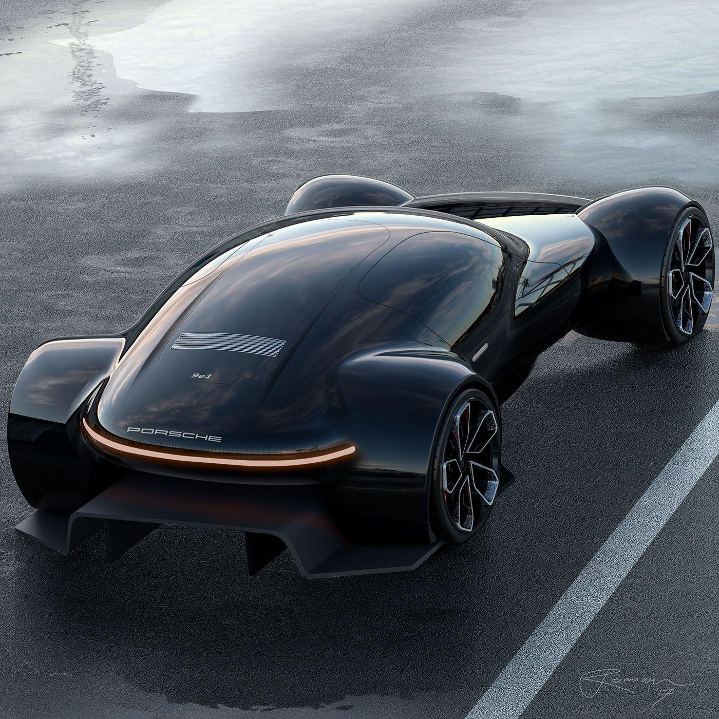 Porsche 9e1 Study Envisions An All Electric Future Hypercar Carscoops Futuristic Cars Porsche Concept Car Design
