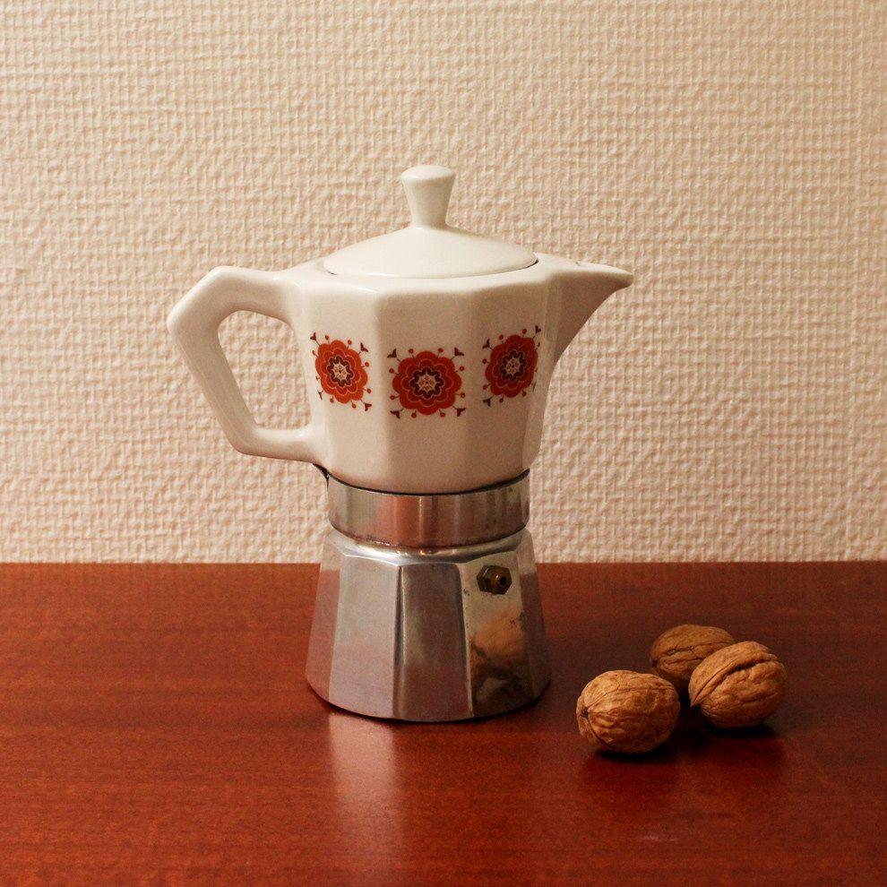Vintage Porcelain Stovetop Espresso Maker Italy